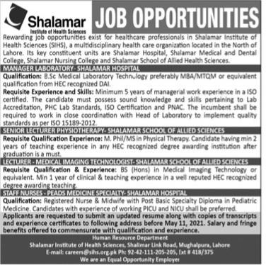 SIHS Jobs May 2021 Advrts