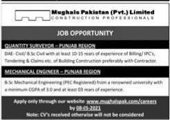 Mughals Pakistan(Pvt) Limited Construction Professionals Jobs 2021 For Quantity Supervisor,Mechanical Engineer( Punjab Region) Apply Online