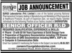 Surge Laboratories(Pvt) Limited Sheikhupura May Jobs 2021 For Senior Officer R & D Apply Online