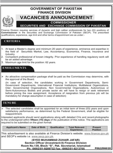 Finance Division Government Of Pakistan Islamabad May Jobs 2021 For Commissioner Securities,Exchange Commissioner Of Pakistan Apply Online