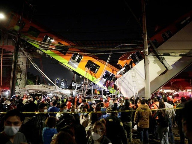 In Mexico, a metro train crashed into a road, including a bridge, killing 23 people