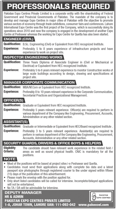 Pakistan Expo Centres Private Limited Jobs For Engineer (Civil), Inspector Engineering Works, Manager Corporate Communication & Others April 2021 Advertisement