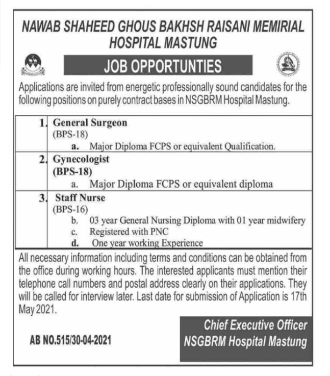 NSGBRM Hospital Mastung Jobs May 2021 Latest Advertisement