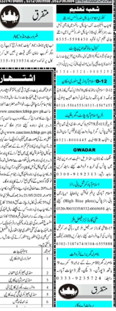 Mashriq Classifieds Jobs 2021 May Latest Advertisement