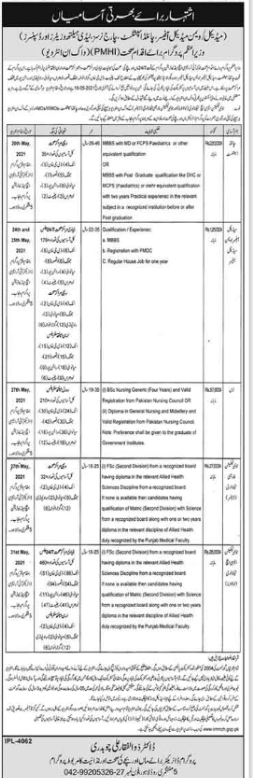 Vacancies are available in Health Department Jobs 2021 latest advertisement
