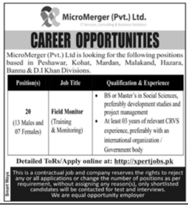 Field Monitor Male & Female Jobs Opportunity 2021 Latest Advertisement