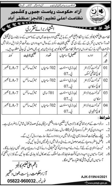 Azad Jamu kashmir Riyasat Muzaffarabad jobs 2021 Advertisement