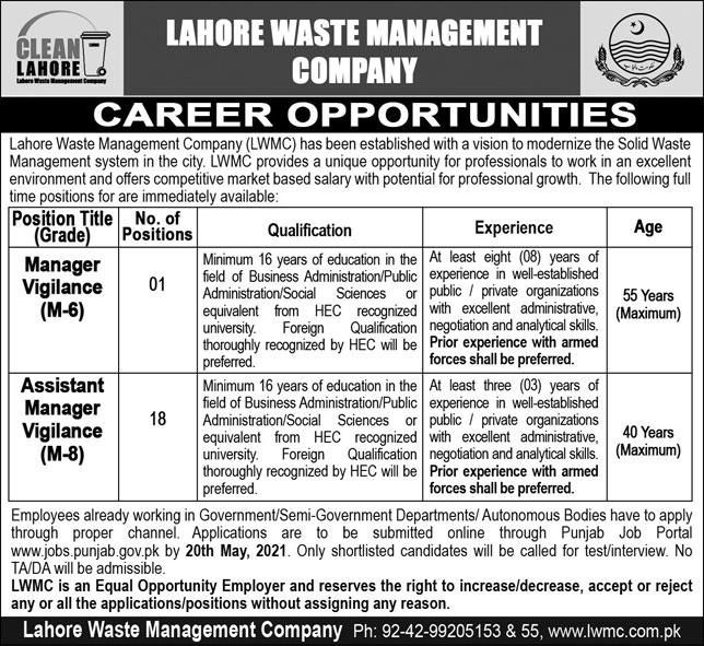 Lahore waste Management Company jobs for Manager Vigilance & Assistant Manager Vigilance April 2021 Advertisement
