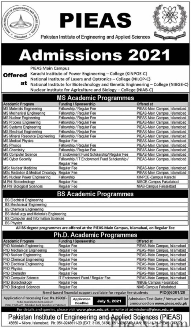 PIEAS Online Registration 2021 | Admissions PhD, Mphil/MS, Msc, BS