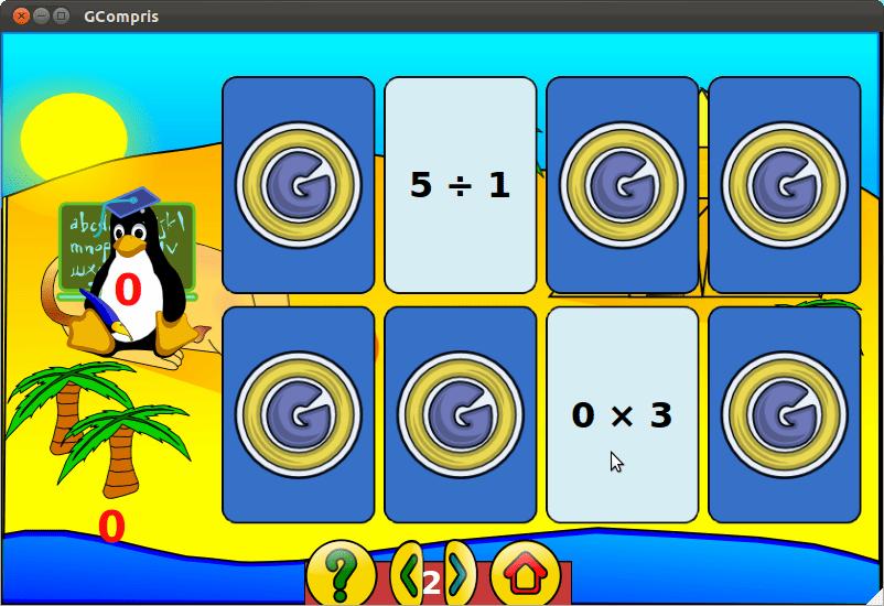 Gcompris Memória de Matemática contra o Tux