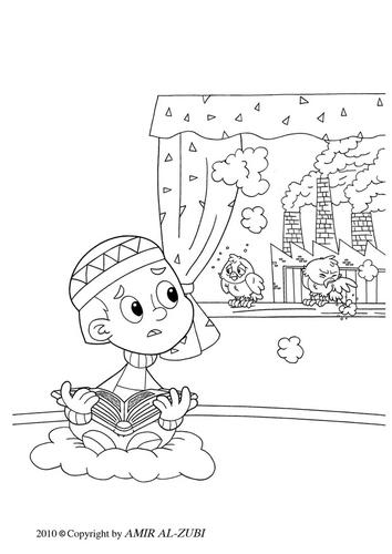 Dibujo para colorear contaminación atmosférica