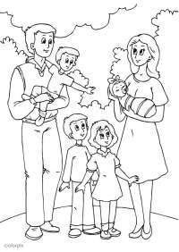 Familia De 5 Para Colorear Dibujo De Familia Feliz Para Colorear