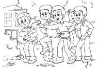 Dibujo para colorear a01 - pelea - acoso escolar - Img 25906