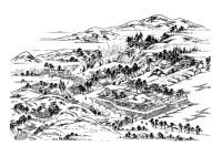 Dibujo para colorear antiguo pueblo japons - Img 28118