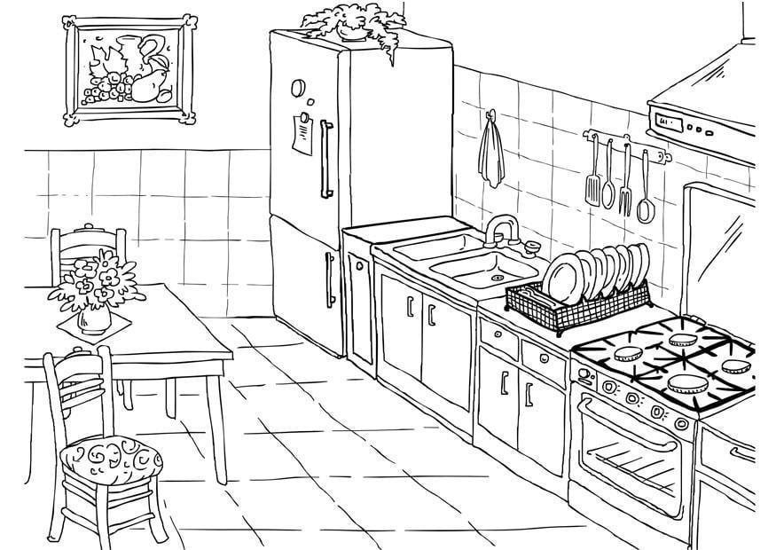 Dibujo para colorear cocina  Img 26224