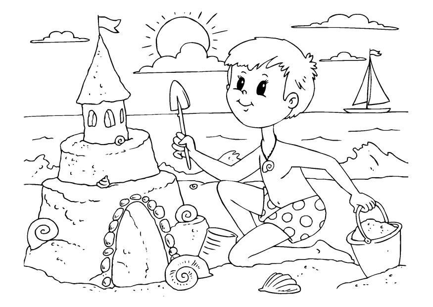 Dibujo para colorear construir un castillo de arena  Img 22615