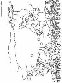 Dibujo para colorear Elfos, tirar bolas de nieve
