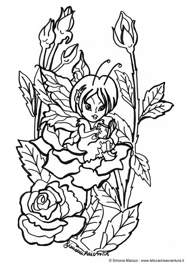 Dibujo para colorear Hada entre rosas  Img 12341