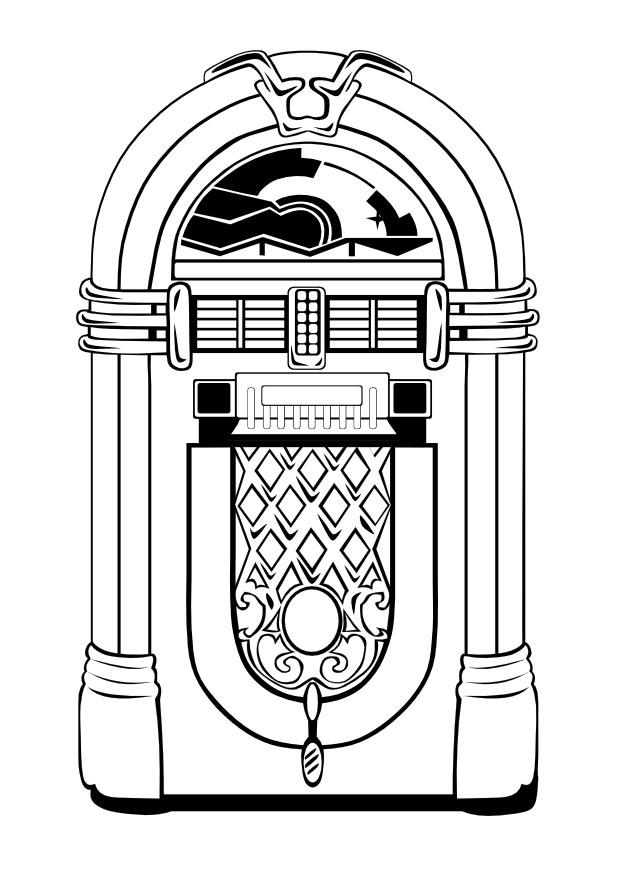 Dibujo para colorear Máquina de discos de los cincuenta