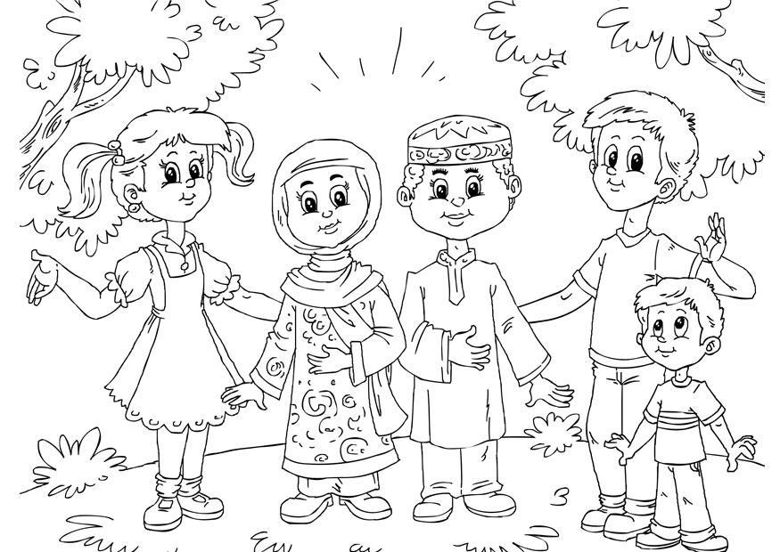 Dibujo para colorear niños musulmanes con niños