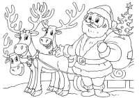 Dibujo para colorear Pap Noel con renos