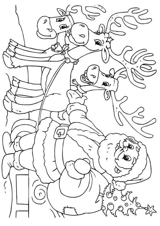 Dibujo Para Colorear Pap Noel Con Renos Img 23062