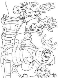 Dibujo para colorear Pap Noel con renos - Img 23062