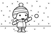 Dibujo para colorear tirar bolas de nieve