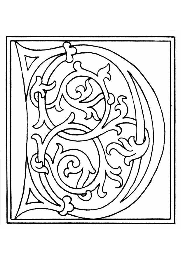 Coloriage 01a Alphabet D