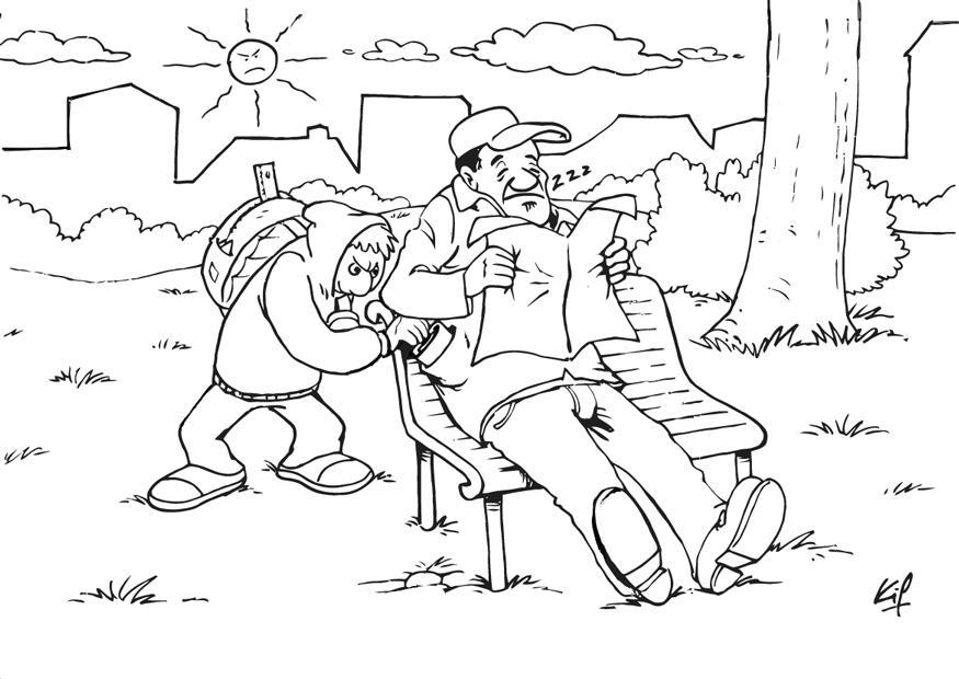 Coloriage voleur  la tire dans un parc  img 26981 Images