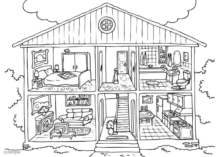 Disegno Da Colorare Casa Interno Cat 25995