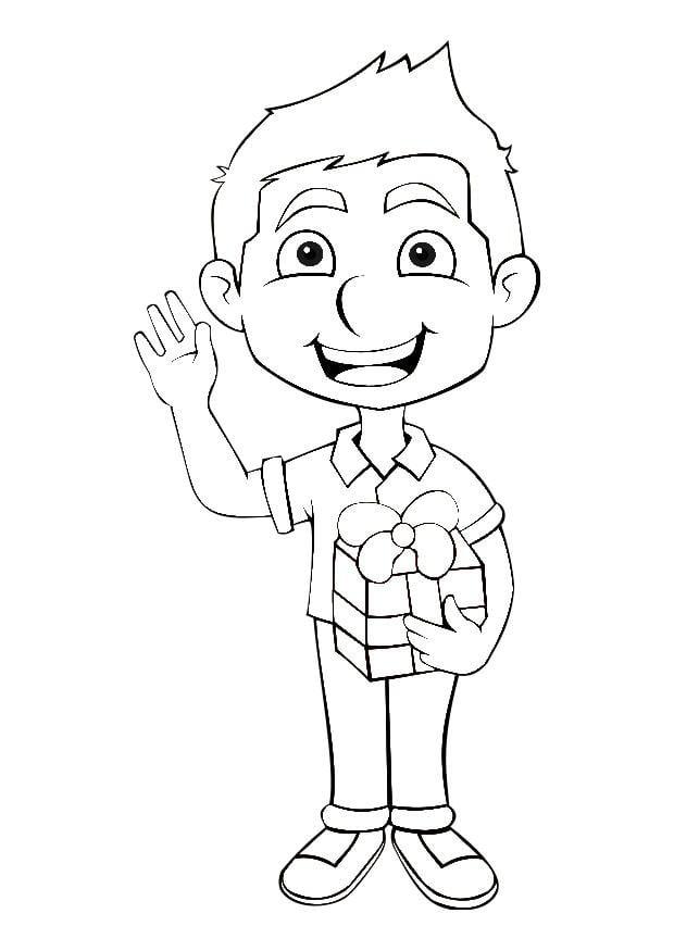 Disegno da colorare ragazzo con regalo  Cat 27465