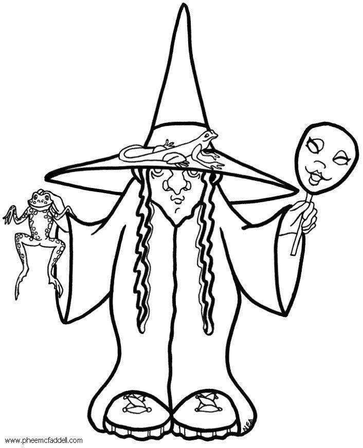 Disegno da colorare strega Halloween