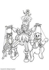 Disegno da colorare teatro dei burattini - Cat. 7350.
