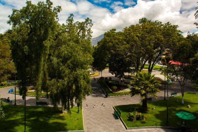 El parque de La Merced Ibarra, Imbabura, Ecuador