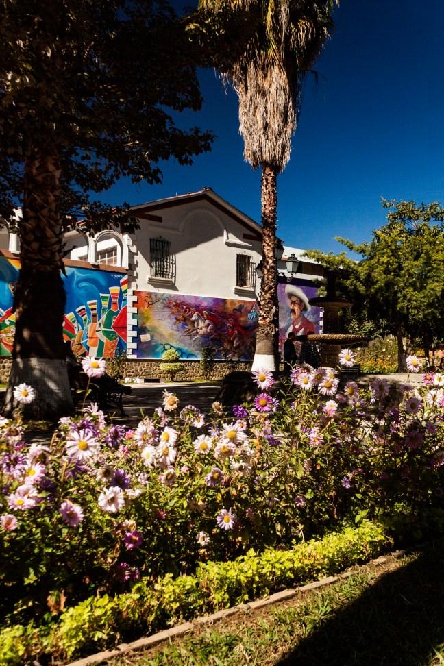 Jardines y murales de Plaza Lizardi Tarija, Tarija, Bolivia
