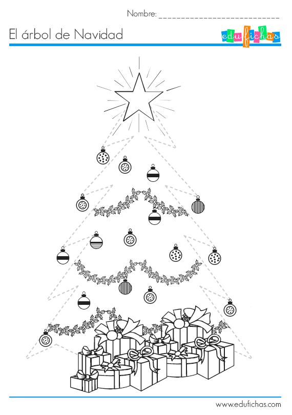 Árbol de Navidad para repasar. Fichas para vacaciones