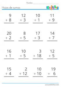 Cuaderno de sumas de 1, 2 y 3 cifras, llevando y sin llevar