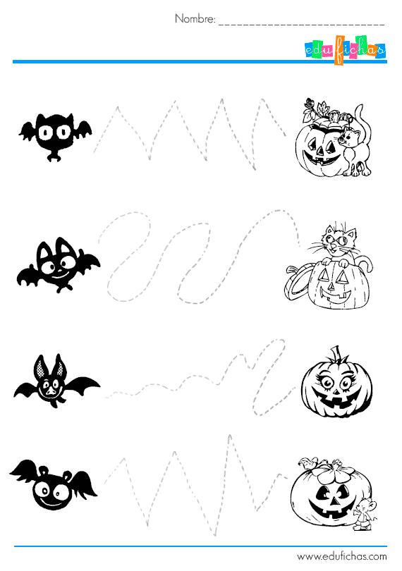 20 Fichas de Actividades de grafomotricidad de Halloween