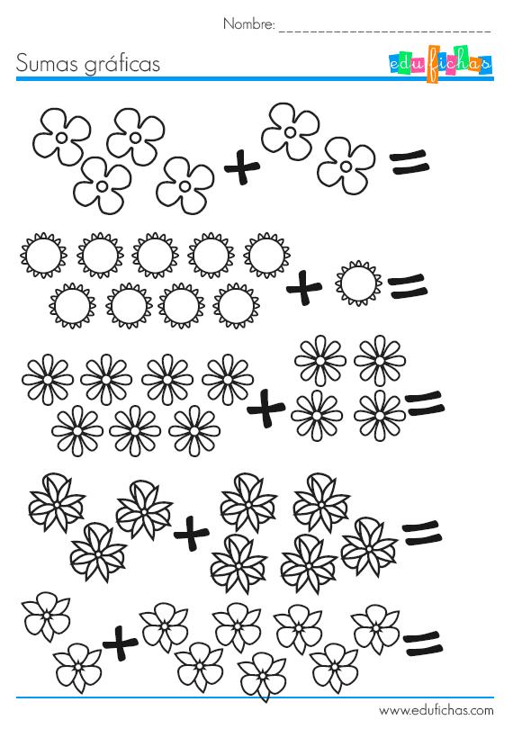 Sumas con dibujos de flores. Fichas de matemáticas para niños.