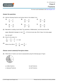 Grade 6 Math Worksheets and Problems: Fractions | Edugain ...