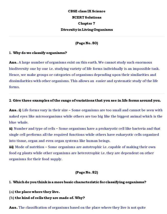 Ch-7 – Diversity in Living Organisms – Page wise NCERT