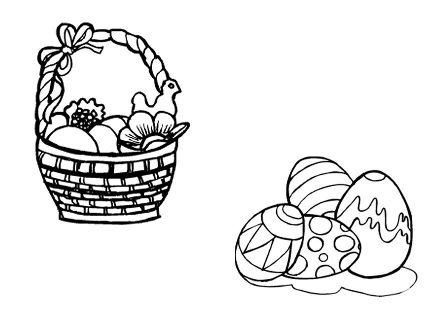 Tattoos Flower: easter eggs in a basket colouring pages