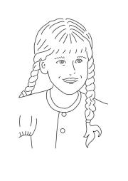 coloring page girl with braided