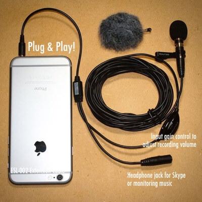 EIM-003 external microphone for iPhone iPad Mac