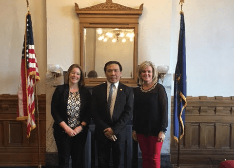 Visit Indiana State Superintendent McCormick (right) and Ms. Jill Woerner (left) of Indiana Department of Education