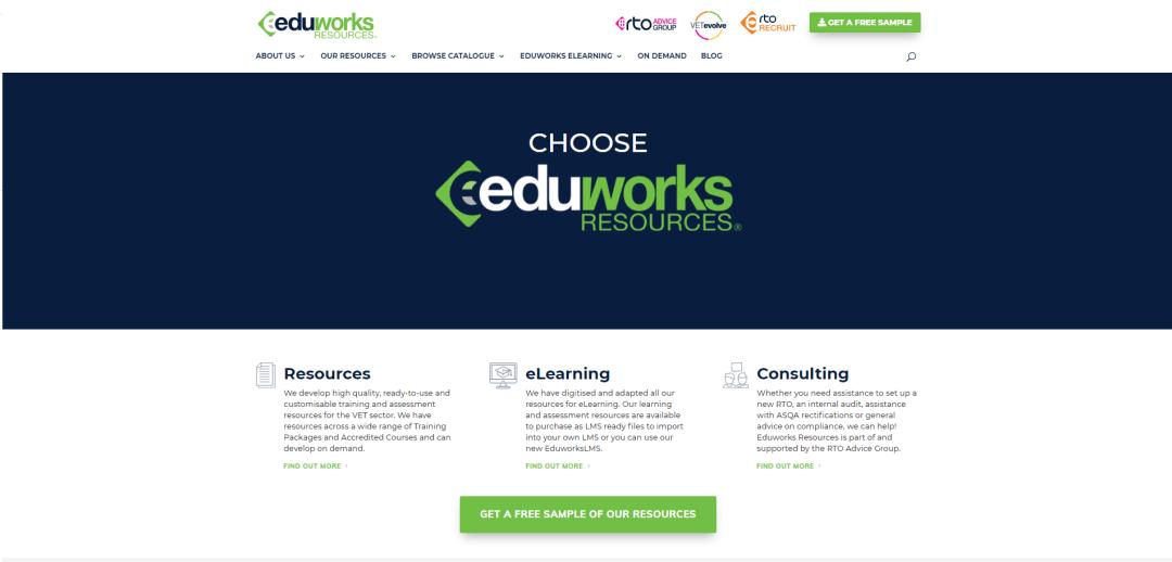Upgraded Eduworks Resources Website home