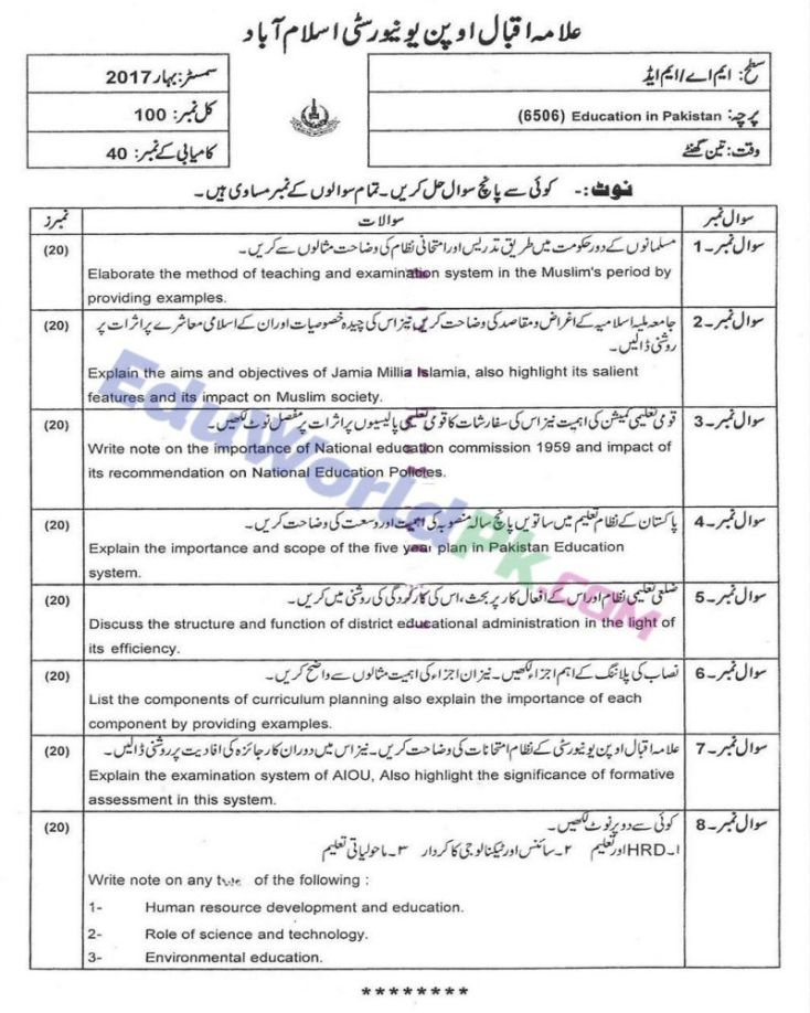 AIOU-MEd-Code-6506-Past-Papers-Spring-2017