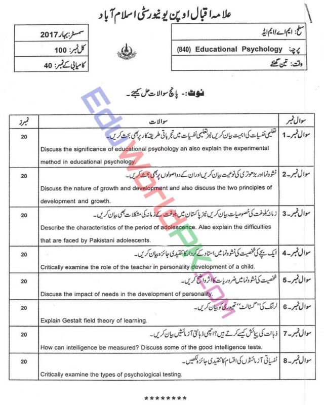 AIOU-MEd-Code-840-Past-Papers-Spring-2017