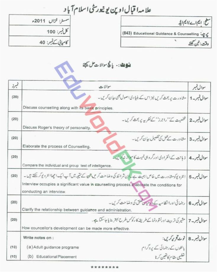 AIOU-MEd-Code-843-Past-Papers-Autumn-2011